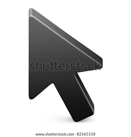 Mouse cursor in black on isolated white background. 3D render image and part of icon series. - stock photo