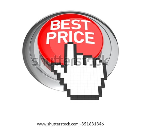 Mouse Hand Cursor on Best Price Button. 3D Illustration.