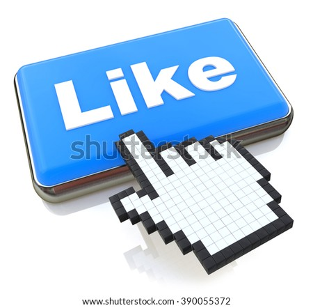 Mouse hand cursor on like button in the design of information related to internet