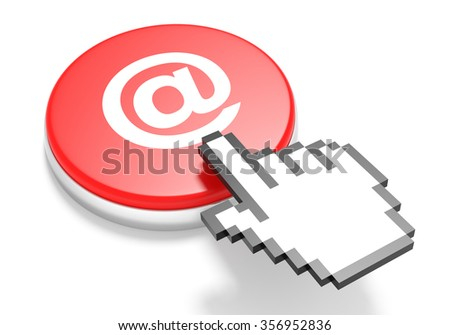 Mouse Hand Cursor on Red E-Mail Button. 3D Illustration. - stock photo