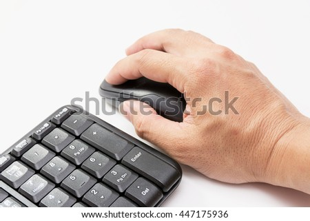 mouse ,keyboard,hand place mouse,mobile telephone ,pencil,note book,glass