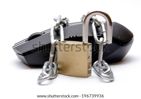 mouse secured by chain and lock on white background - stock photo