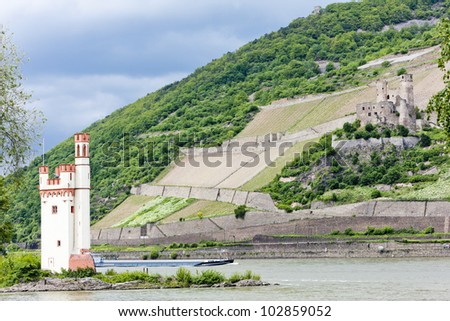 Mouse Tower and ruins of Ehrenfels Castle, Rhineland-Palatinate, Germany - stock photo