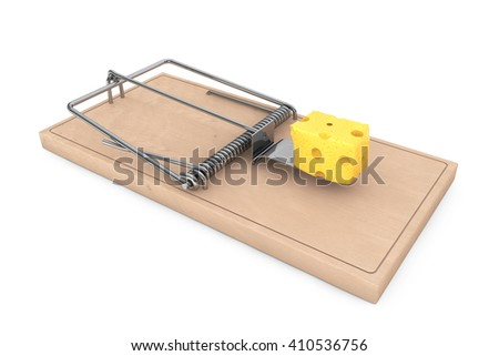 Mouse trap with a piece of cheese on a white background. 3d Rendering - stock photo