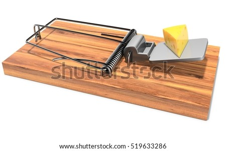 Mouse trap with a piece of cheese on white background 3D illustration