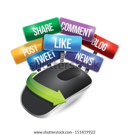 mouse with social media signs illustration design over a white background