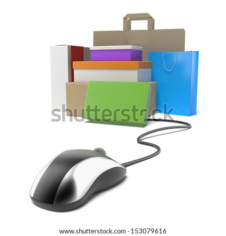 mouse with stack of boxes. internet shopping