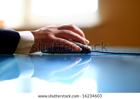 mouse work hand work background - stock photo