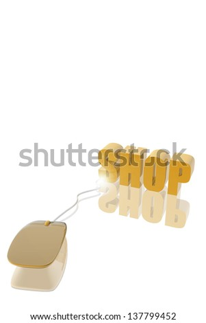 Mousepad and shop icon.  Buy online concept - stock photo