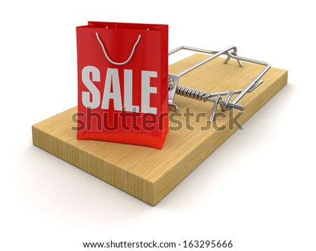 Mousetrap and bag sale (clipping path included) - stock photo