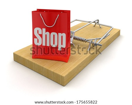 Mousetrap and bag Shop (clipping path included) - stock photo
