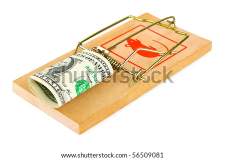 Mousetrap and money isolated on white background - stock photo