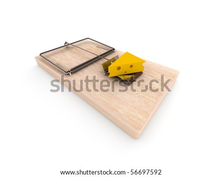 Mousetrap with cheese isolated on white background. High quality 3d render.
