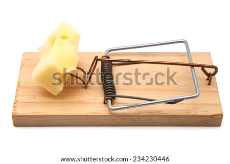 Mousetrap with cheese on white background - stock photo