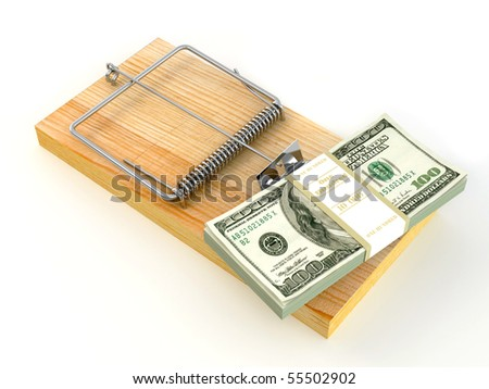 Mousetrap with dollar. 3d