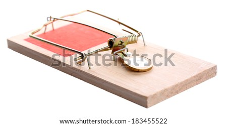 Mousetrap with euro coin isolated on white - stock photo