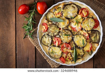 Moussaka (eggplant casserole) - a traditional Greek dish. Top view - stock photo