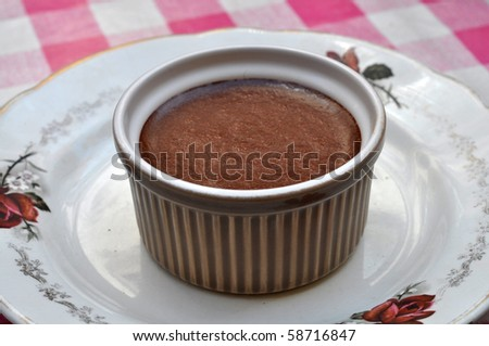 Mousse au Chocolat in a retro cup - stock photo