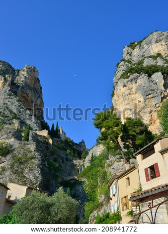 Moustiers Sainte Marie, medieval church, with the golden star, Alpes de Haute Provance, France Provence,