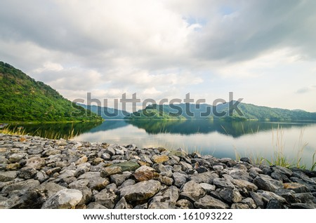Moutain and river from Thailand - stock photo