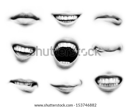 Mouth emotion set - stock photo
