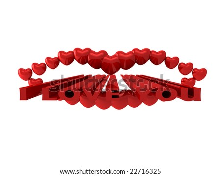 Mouth from hearts on white background - stock photo