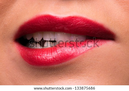 Mouth lips and teeth looking angry - stock photo