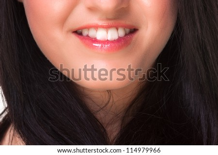 Mouth of a pretty girl closeup - stock photo
