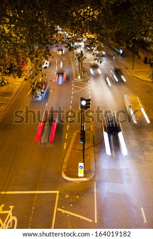Movement Busy Traffic at Night, London, England - stock photo