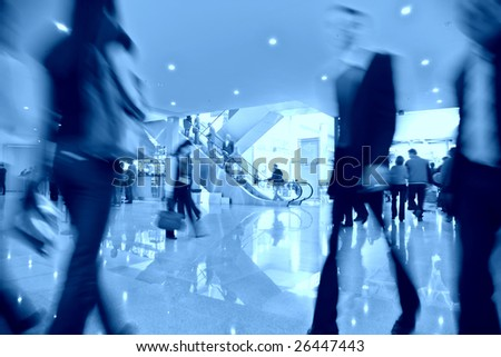 Movement in business center - stock photo