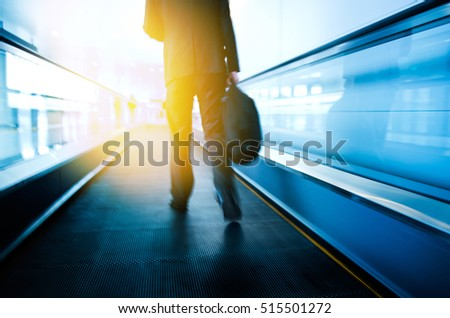 Movement of abstract escalator with people.