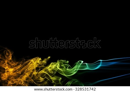 movement of smoke, Abstract blue and orange smoke on black background, smoke background,blue and orange ink background, blue and orange fire - stock photo