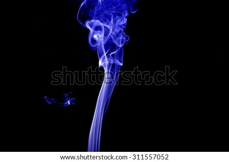Movement of smoke,Abstract blue smoke on black background, blue background,blue ink background