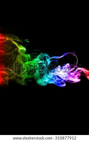 Movement of smoke,Abstract color smoke on black background, smoke background,colorful ink background,rainbow smoke, beautiful smoke