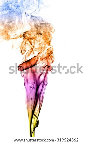 movement of smoke, Abstract colorful smoke on white background, smoke background,colorful ink background,Yellow and Violet and Orange and Blue smoke,beautiful color smoke
