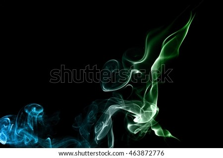 movement of smoke, Abstract green and blue smoke on black background, smoke background,green and blue ink background,green and blue, beautiful color smoke