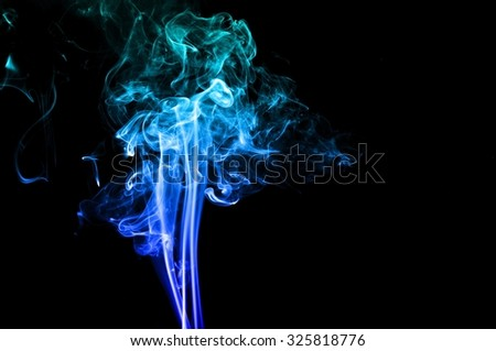 movement of smoke, Abstract Light blue smoke on black background, Light blue background,Light blue ink background