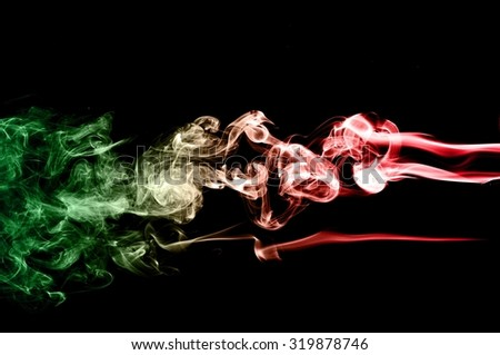 movement of smoke, Abstract red and green smoke on black background, smoke background,red and green ink background,red and green smoke,beautiful color smoke