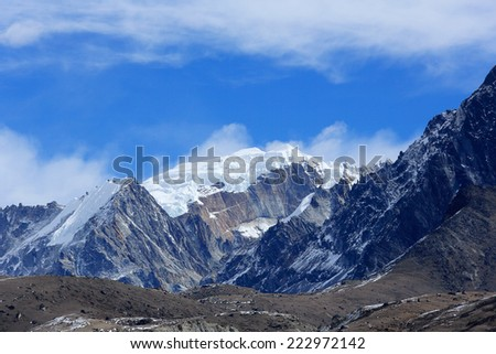 Movement of the clouds on the mountains, Himalayas, Nepal - stock photo