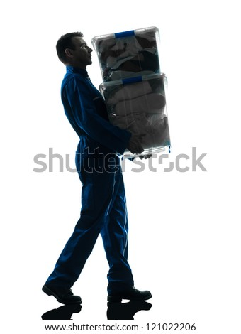 mover with boxes silhouette  worker silhouette in studio on white background - stock photo
