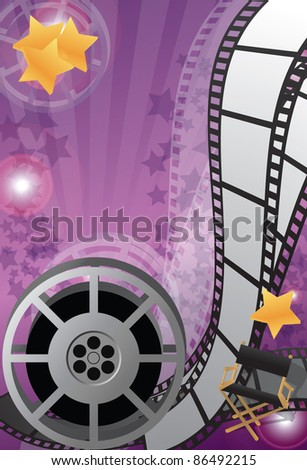 Movie background vertical, raster - stock photo