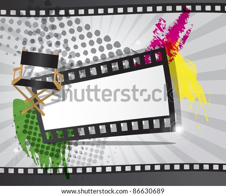 Movie background with filmstrip and director's chair, raster - stock photo