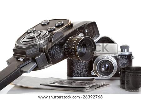 movie camera and photo camera - stock photo