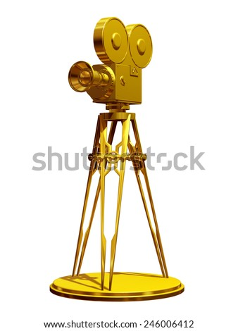 movie camera on a tripod in gold - stock photo