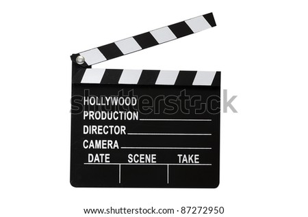 Movie clapboard isolated on white background with clipping path. - stock photo