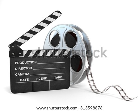 movie clapper and film reel 3d illustration - stock photo