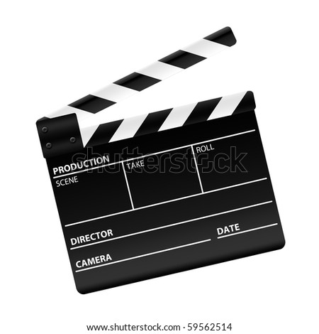 Movie clapper board isolated on white - stock photo