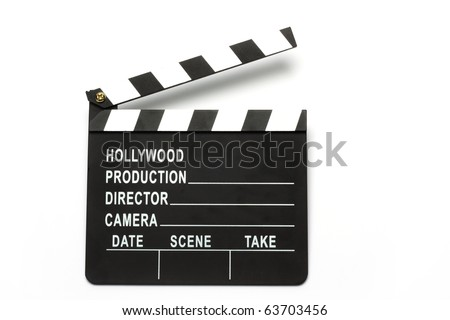 Movie clapper board over white - stock photo