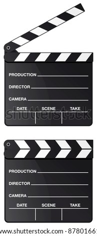 Movie clapper board set isolated on white background - raster version