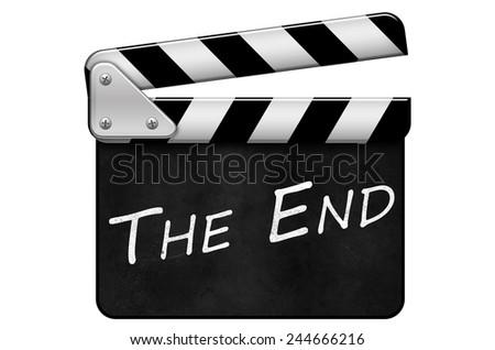 movie clapper, clapper, The End - stock photo